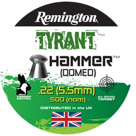 Remington TYRANT Hammer DOME SHAPED PELLETS .22 CALIBRE 13.6gr x 10 Tins