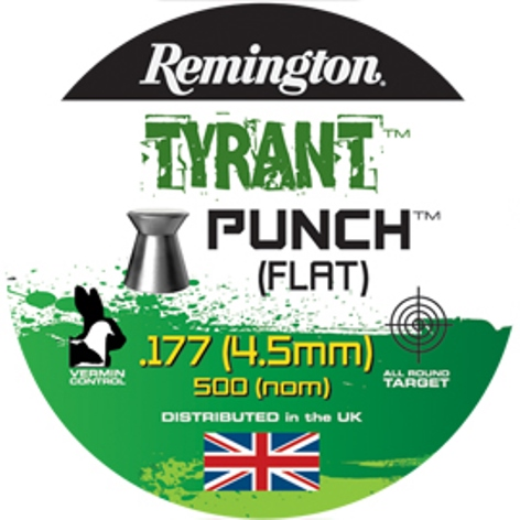Remington TYRANT PUNCH FLAT HEAD PELLETS .177 CALIBRE 8.1gr x 10 Tins