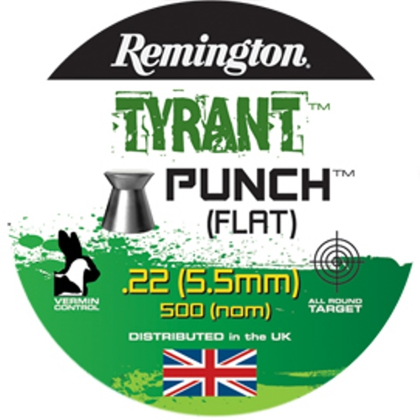 Remington TYRANT PUNCH FLAT HEAD PELLETS .22 CALIBRE 12.5gr x 10 Tins