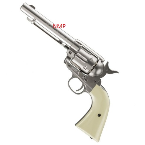 Colt SAA.45 Peacemaker Single Action Army .177 12g co2 air pistol (6 shot 4.5mm steel BB)- Nickel Umarex