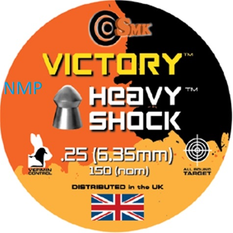 SMK VICTORY HEAVY SHOCK (ROUND) .25 CALIBRE tin of 150 Pellets 32.5gr x 5 tins