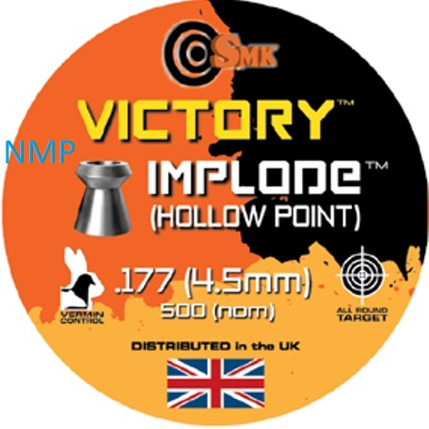 SMK VICTORY IMPLODE (HOLLOW POINT) .177 CALIBRE tin of 500 Pellets 8.1gr x 5 tins