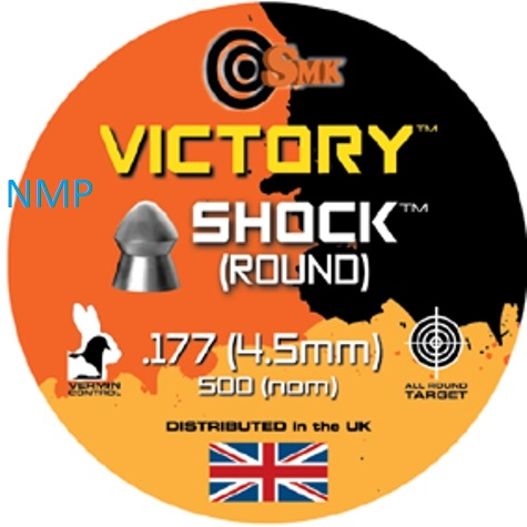 SMK VICTORY SHOCK (ROUND) .177 CALIBRE tin of 500 Pellets 8.2gr x 10 tins