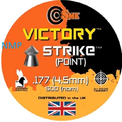 SMK VICTORY STRIKE (POINTED) .177 CALIBRE tin of 500 Pellets 7.8gr x 5 tins