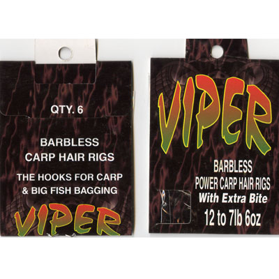 HAIR RIGS SIZE 12 VIPER BARBLESS POWER CARP HAIR RIGS SIZE 12 to 7lb 6oz PACK 6 HOOKS