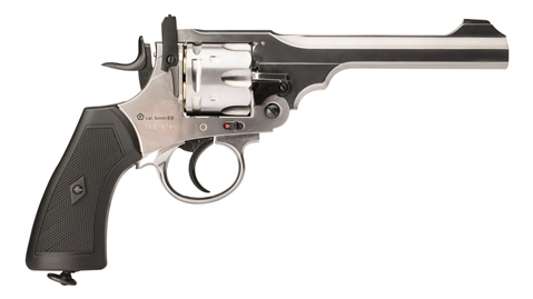 Webley MKVI Service Revolver 12g co2 Air Pistol .177 ( 4.5mm 177 Pellet version .455) Limited Edition Silver Finish with Black 2.1 ft/lbs (WPIMK6SB45)