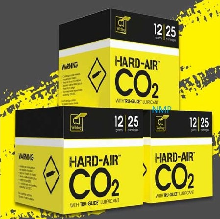 Hard Air CO2 12 gram 12g Cartridges for Air Guns Precision Made Co2 Propellant with added Webley TRU-GLIDE lubricant from Webley box of 25