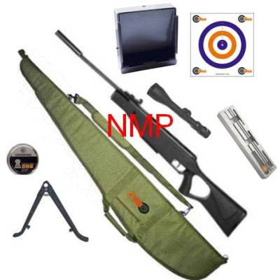 SMK SUPER GRADE XS19 Mauser SR Carbine Hunter Break Barrel Air Rifle Black Thumbhole Synthetic Stock .22 calibre air gun pellet ( WITH FULL KIT )