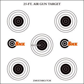 SMK 25ft AIR GUN TARGETS ( 5 Bull's eyes targets)  Pack of 100 Card Targets 14 cm